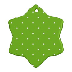 Mages Pinterest Green White Polka Dots Crafting Circle Snowflake Ornament (two Sides) by Alisyart