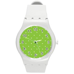Mages Pinterest Green White Polka Dots Crafting Circle Round Plastic Sport Watch (m) by Alisyart