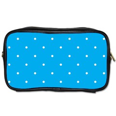 Mages Pinterest White Blue Polka Dots Crafting Circle Toiletries Bags 2 Side by Alisyart