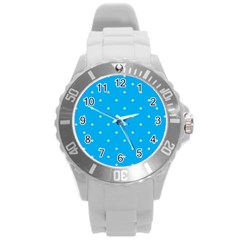 Mages Pinterest White Blue Polka Dots Crafting Circle Round Plastic Sport Watch (l) by Alisyart