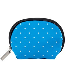 Mages Pinterest White Blue Polka Dots Crafting Circle Accessory Pouches (small)  by Alisyart