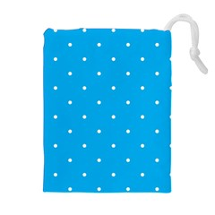 Mages Pinterest White Blue Polka Dots Crafting Circle Drawstring Pouches (extra Large) by Alisyart