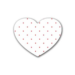 Mages Pinterest White Red Polka Dots Crafting Circle Rubber Coaster (heart)  by Alisyart