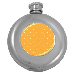 Mages Pinterest White Orange Polka Dots Crafting Round Hip Flask (5 Oz) by Alisyart