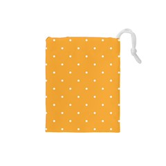 Mages Pinterest White Orange Polka Dots Crafting Drawstring Pouches (small)  by Alisyart