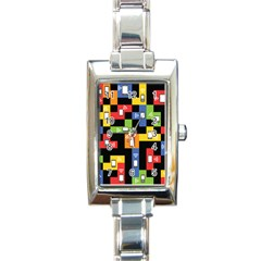 Mobile Phone Signal Color Rainbow Rectangle Italian Charm Watch by Alisyart