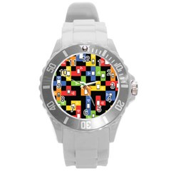 Mobile Phone Signal Color Rainbow Round Plastic Sport Watch (l) by Alisyart