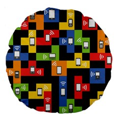 Mobile Phone Signal Color Rainbow Large 18  Premium Flano Round Cushions by Alisyart
