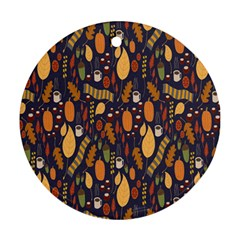 Macaroons Autumn Wallpaper Coffee Round Ornament (two Sides) by Alisyart