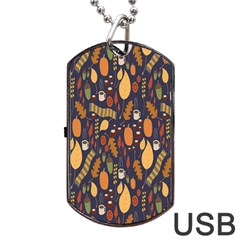 Macaroons Autumn Wallpaper Coffee Dog Tag Usb Flash (two Sides) by Alisyart