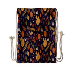 Macaroons Autumn Wallpaper Coffee Drawstring Bag (small) by Alisyart