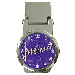 Music Flyer Purple Note Blue Tone Money Clip Watches by Alisyart