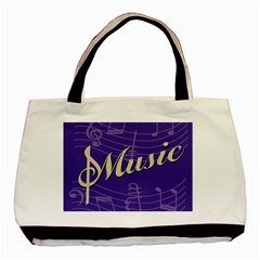 Music Flyer Purple Note Blue Tone Basic Tote Bag by Alisyart