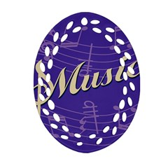 Music Flyer Purple Note Blue Tone Ornament (oval Filigree) by Alisyart