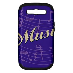 Music Flyer Purple Note Blue Tone Samsung Galaxy S Iii Hardshell Case (pc+silicone) by Alisyart