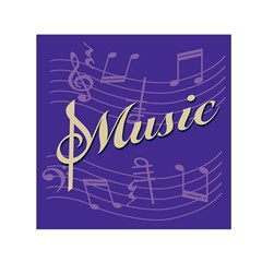 Music Flyer Purple Note Blue Tone Small Satin Scarf (square) by Alisyart