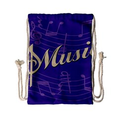 Music Flyer Purple Note Blue Tone Drawstring Bag (small) by Alisyart
