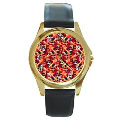 Modern Graphic Round Gold Metal Watch by Alisyart