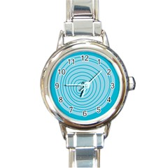 Mustard Logo Hole Circle Linr Blue Round Italian Charm Watch by Alisyart
