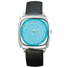 Mustard Logo Hole Circle Linr Blue Square Metal Watch by Alisyart