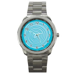 Mustard Logo Hole Circle Linr Blue Sport Metal Watch by Alisyart
