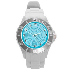 Mustard Logo Hole Circle Linr Blue Round Plastic Sport Watch (l) by Alisyart