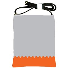 Orange Gray Scallop Wallpaper Wave Shoulder Sling Bags by Alisyart
