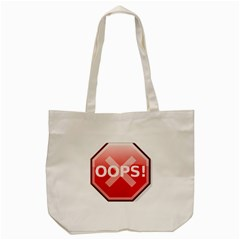 Oops Stop Sign Icon Tote Bag (cream) by Alisyart
