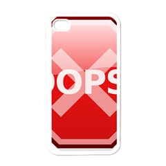 Oops Stop Sign Icon Apple Iphone 4 Case (white) by Alisyart