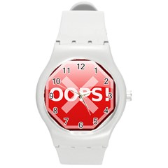 Oops Stop Sign Icon Round Plastic Sport Watch (m) by Alisyart