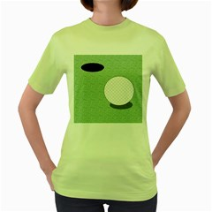 Golf Image Ball Hole Black Green Women s Green T Shirt