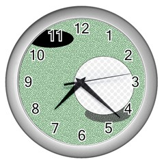 Golf Image Ball Hole Black Green Wall Clocks (silver)  by Alisyart