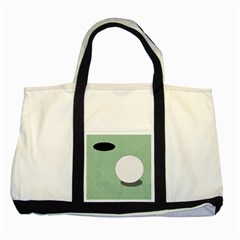 Golf Image Ball Hole Black Green Two Tone Tote Bag by Alisyart