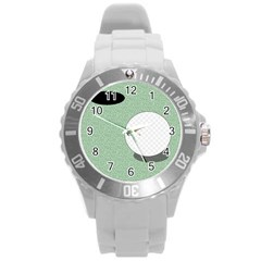 Golf Image Ball Hole Black Green Round Plastic Sport Watch (l) by Alisyart
