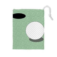 Golf Image Ball Hole Black Green Drawstring Pouches (large)  by Alisyart