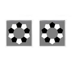 Pentagons Decagram Plain Black Gray White Triangle Cufflinks (square) by Alisyart
