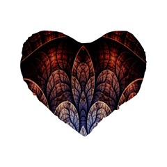 Abstract Fractal Standard 16  Premium Flano Heart Shape Cushions by Simbadda