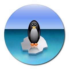 Penguin Ice Floe Minimalism Antarctic Sea Round Mousepads by Alisyart
