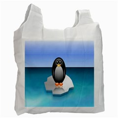 Penguin Ice Floe Minimalism Antarctic Sea Recycle Bag (one Side) by Alisyart