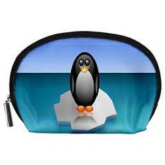 Penguin Ice Floe Minimalism Antarctic Sea Accessory Pouches (large)  by Alisyart