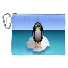 Penguin Ice Floe Minimalism Antarctic Sea Canvas Cosmetic Bag (xxl) by Alisyart