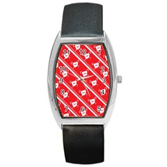Panda Bear Face Line Red White Barrel Style Metal Watch by Alisyart