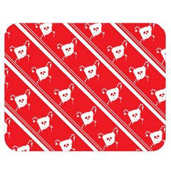 Panda Bear Face Line Red White Double Sided Flano Blanket (medium)  by Alisyart