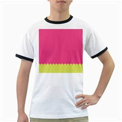 Pink Yellow Scallop Wallpaper Wave Ringer T Shirts by Alisyart