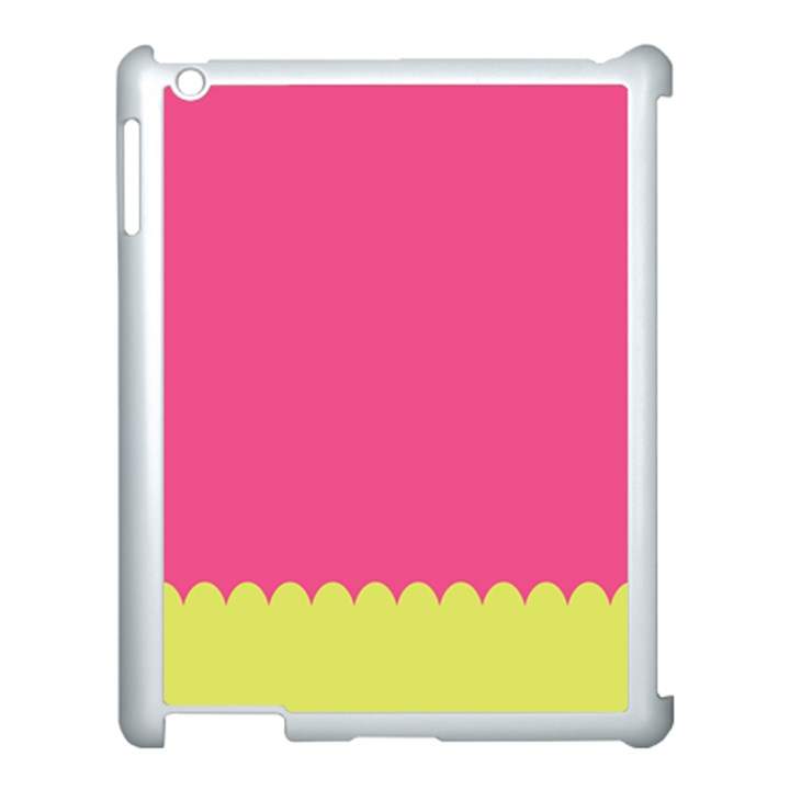 Pink Yellow Scallop Wallpaper Wave Apple iPad 3/4 Case (White)