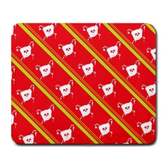Panda Bear Face Line Red Yellow Large Mousepads by Alisyart