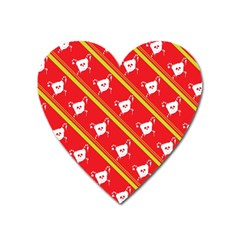 Panda Bear Face Line Red Yellow Heart Magnet by Alisyart