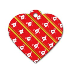 Panda Bear Face Line Red Yellow Dog Tag Heart (one Side) by Alisyart