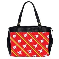 Panda Bear Face Line Red Yellow Office Handbags (2 Sides)  by Alisyart