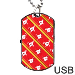 Panda Bear Face Line Red Yellow Dog Tag Usb Flash (one Side) by Alisyart
